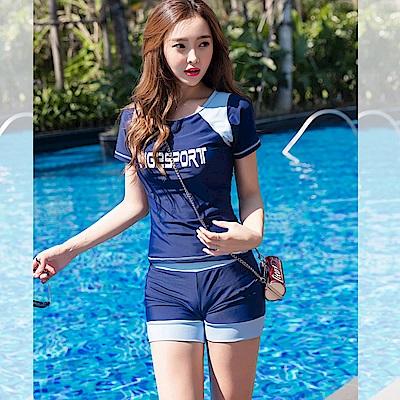 Biki比基尼妮泳衣   糖尚運動短袖二件式泳衣泳裝(M-2XL)