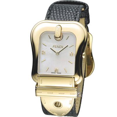 FENDI B.Fendi 完美時尚腕錶-黑x金/白面/33x44mm