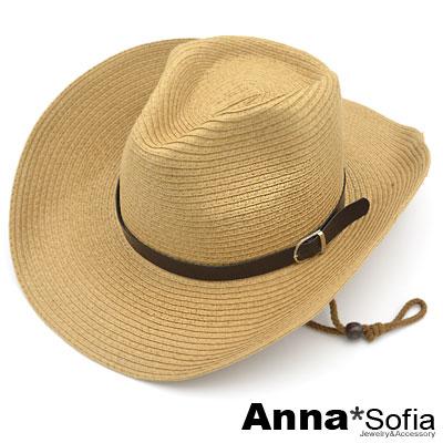 【滿額再75折】AnnaSofia 層層率性革帶 寬簷遮陽牛仔紳士帽爵士帽草帽(駝系)