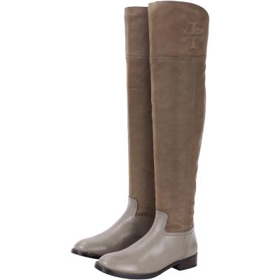 TORY BURCH SIMONE OVER 拼接設計膝上長靴(灰棕色)