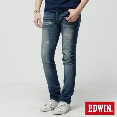 EDWIN 窄直筒 503NARROW破壞牛仔褲-男-漂淺藍