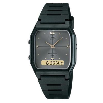 CASIO 經典復古風格商務雙顯錶(AW-48HE-8A)-黑X鐵灰面/34mm