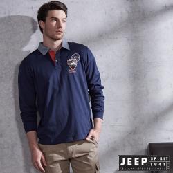 JEEP 美式經典素面牛仔領POLO衫-藍