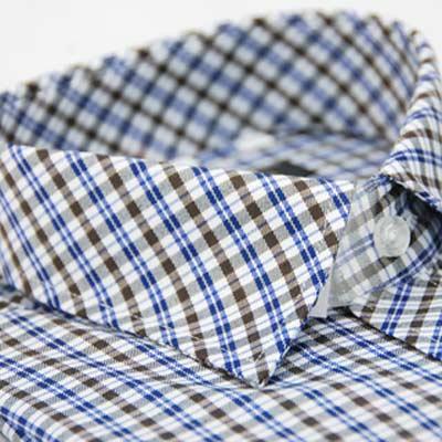 金‧安德森 藍白棕格紋窄版長袖襯衫