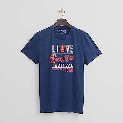 Hang Ten - 男裝 - 有機棉 搖滾音樂節T恤-藍色