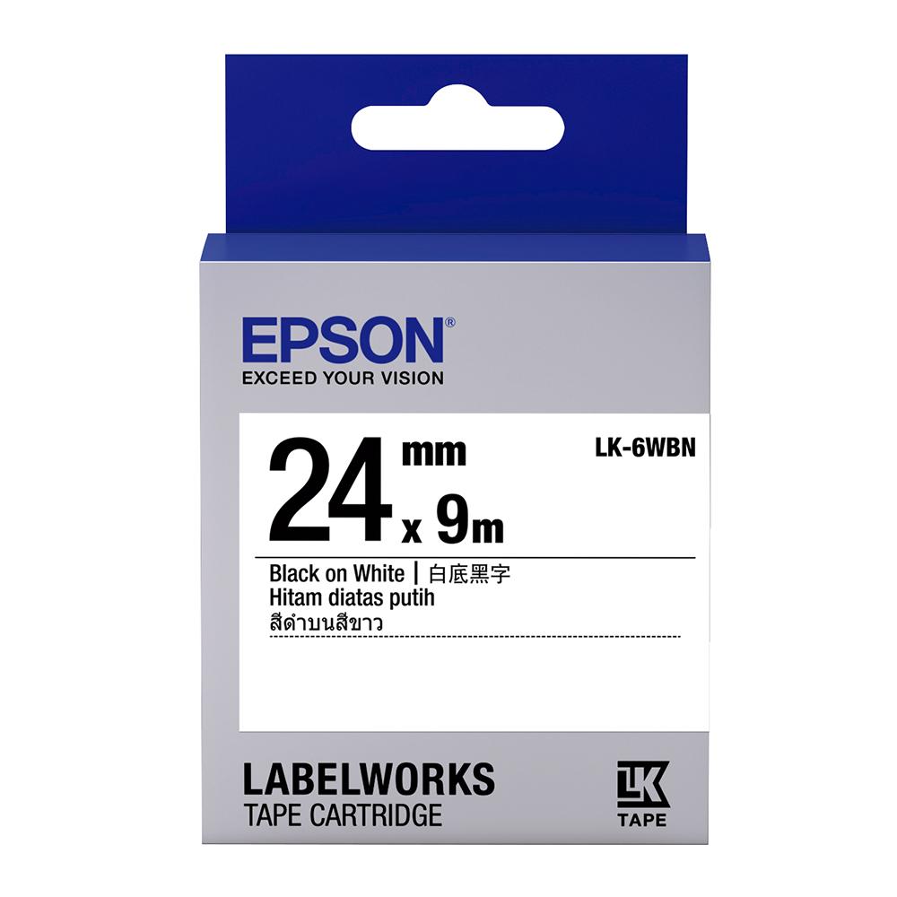 EPSON C53S656401 LK-6WBN一般系列白底黑字標籤帶(寬度24mm)