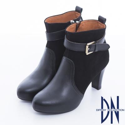 DN 典藏風尚 質感真皮金色單釦高跟踝靴 黑
