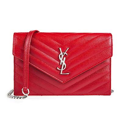 YSL V字縫線斜紋牛皮金屬LOGO銀鍊斜肩/手拿包 (紅色/小)