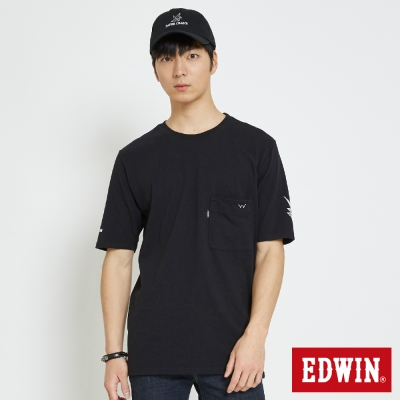 EDWIN 經典W口袋寬大版T恤-男-黑色