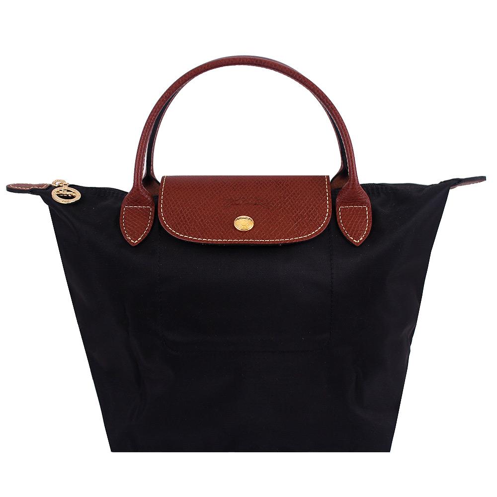 Longchamp黑色短帶折疊水餃包(小)LONGCHAMP