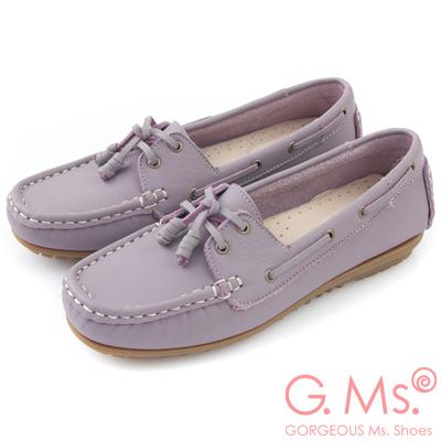 G.Ms. MIT情侶鞋系列-水洗牛皮帆船鞋-粉嫩紫
