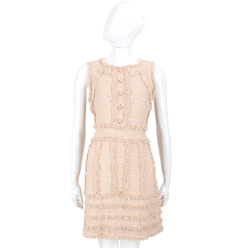 EDWARD ACHOUR PARIS 粉色不修邊設計珍珠釦飾無袖洋裝