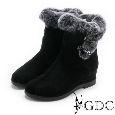 GDC-高雅時尚歐美感毛毛中靴-黑色