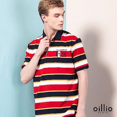 歐洲貴族oillio 短袖POLO 多顏色條紋 精緻電繡 紅色