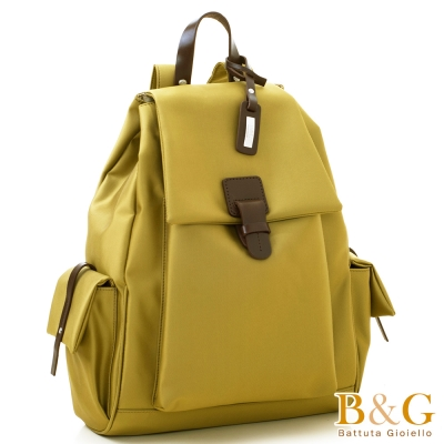 B&G 輕盈多口袋雙肩後背包(馬卡龍金)
