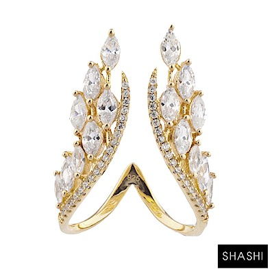 SHASHI 紐約品牌 ISABELLA RING 鑲鑽天使翅膀 立體水晶翅膀戒指