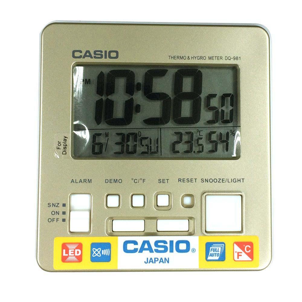CASIO 全方位溫濕度感應數位鬧鐘(DQ-981-9D)香檳金面