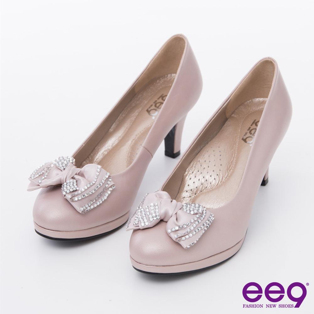 ee9 心滿益足-時尚魅力奢華閃耀水鑽蝴蝶結高跟鞋-裸色
