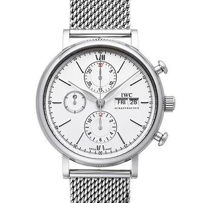 IWC 萬國錶 Portofino IW391009 柏濤菲諾自動白面計時米蘭帶腕錶-42mm