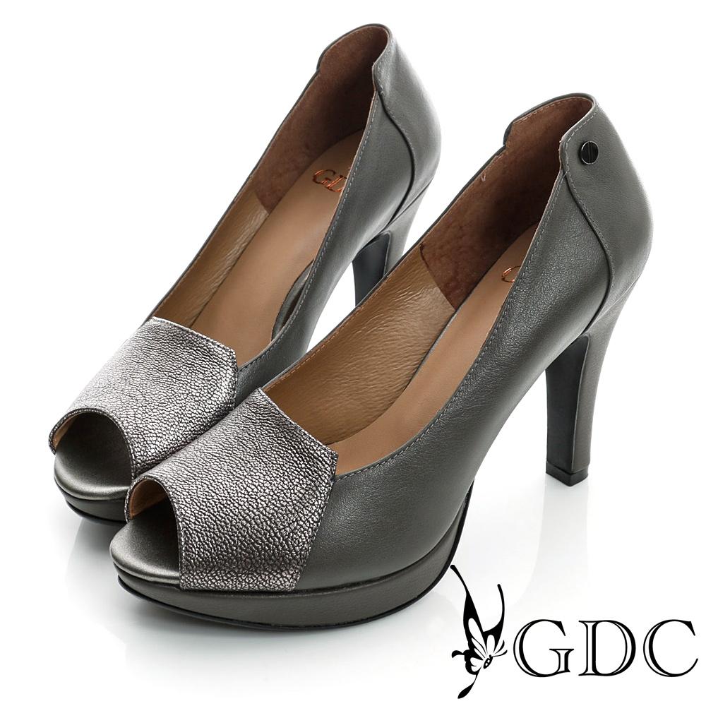 GDC都會-拼接撞色魚口真皮高跟鞋-槍灰色