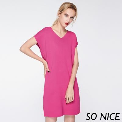 SO NICE優雅V領針織洋裝