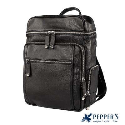 PEPPER`S 牛皮個性拉鍊後背包 - 黑