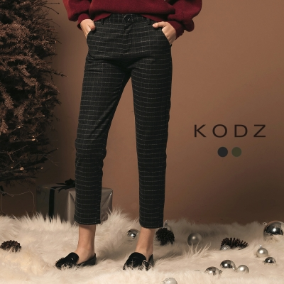 東京著衣-KODZ溫熱系歐美質感修身經典格紋毛呢長褲-S.M.L(共二色)