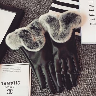 梨花HaNA-奢華暖冬仿兔毛超柔好品質皮手套