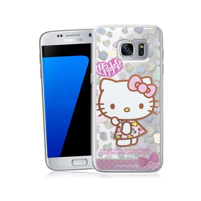 三麗鷗正版 凱蒂貓 三星 Galaxy S7 5.1吋 透明軟式保護殼(豹紋)