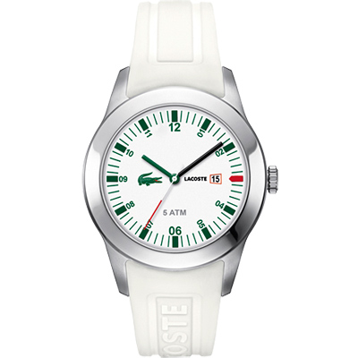 Lacoste 鱷魚 運動風石英時尚腕錶-白/42mm