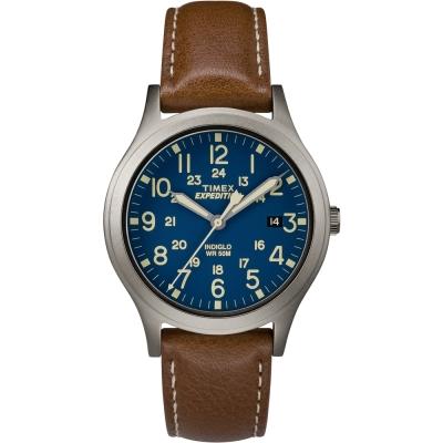 TIMEX 天美時 Expedition系列探險手錶-藍x咖啡/36mm