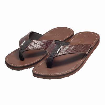 LocKen 獨特設計編織紋人字夾腳拖涼鞋(咖啡色)