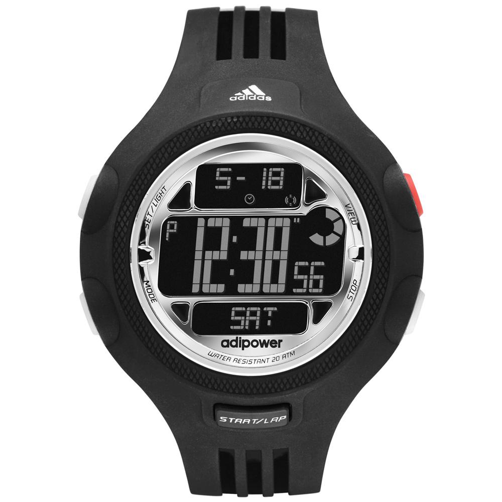 adidas勁戰狙擊大面板金屬電子錶-黑x銀圈53mm