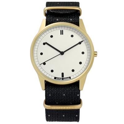 HyperGrand Bigsby 清爽簡約藝術印花尼龍手錶-米白x金框x黑/38mm