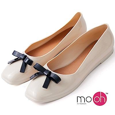 mo.oh-方頭蝴蝶結平底防水果凍娃娃鞋-白色