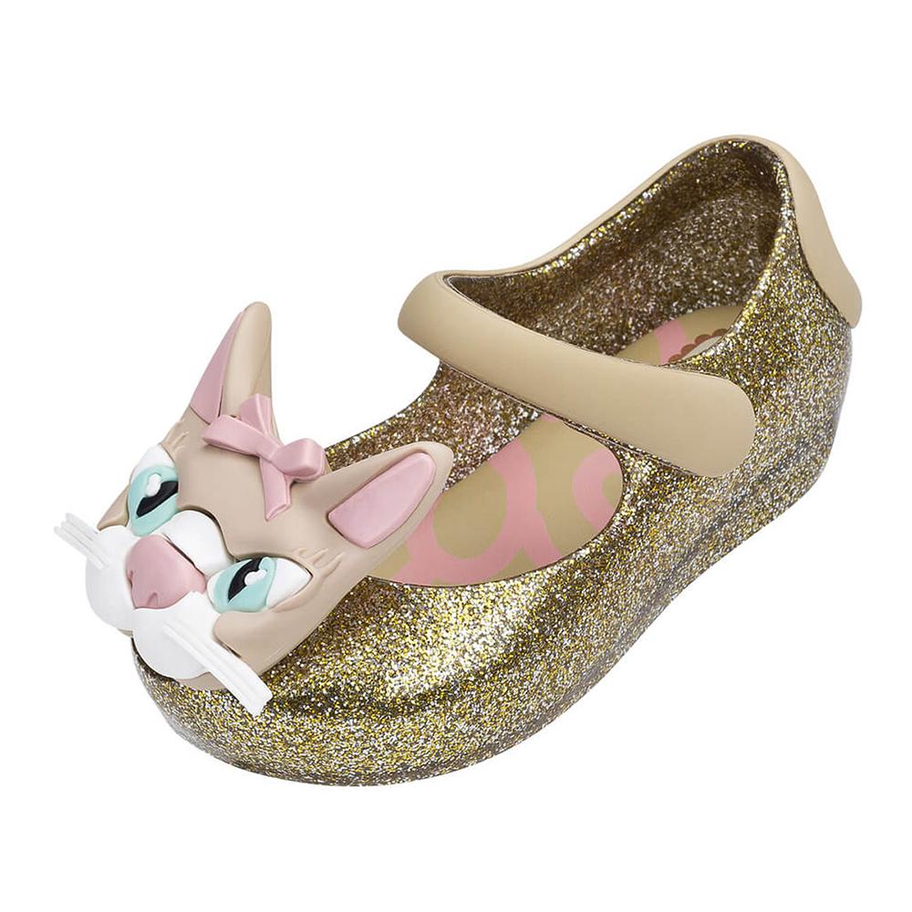 MINI MELISSA可愛花貓童鞋-燦金