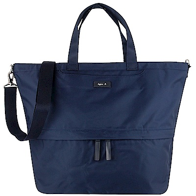 agnes b. VOYAGE 藍色尼龍梯形兩用斜背/手提包