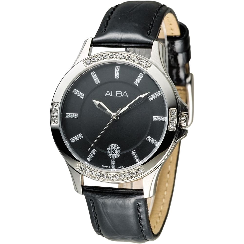 ALBA雅柏手錶 浪漫天際晶鑽女錶-黑(AG8409X1)/35mm 保固二年