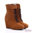 effie 保暖靴系列 絨面牛皮魔鬼氈奈米楔型短靴 茶色