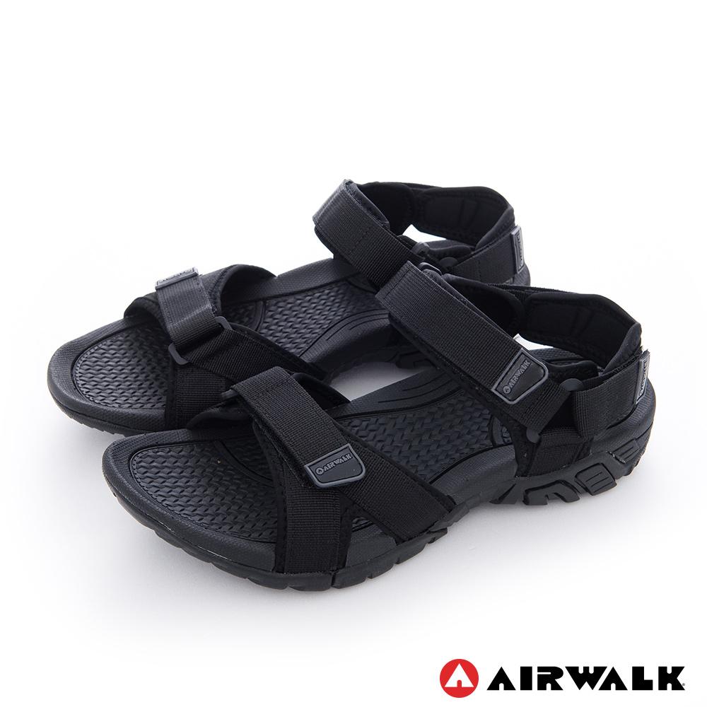 【AIRWALK】小野人 越野戶外輕量防滑涼鞋-全黑