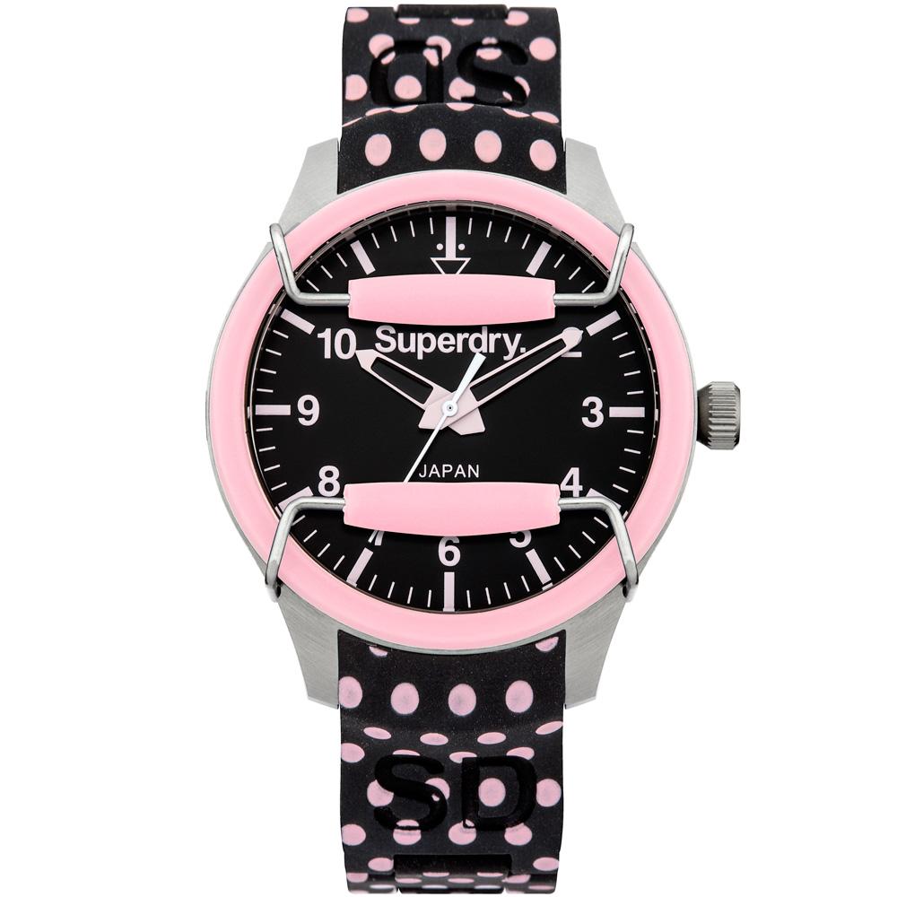 Superdry Scuba Polka普普圓點矽膠腕錶-黑x粉 /38mm