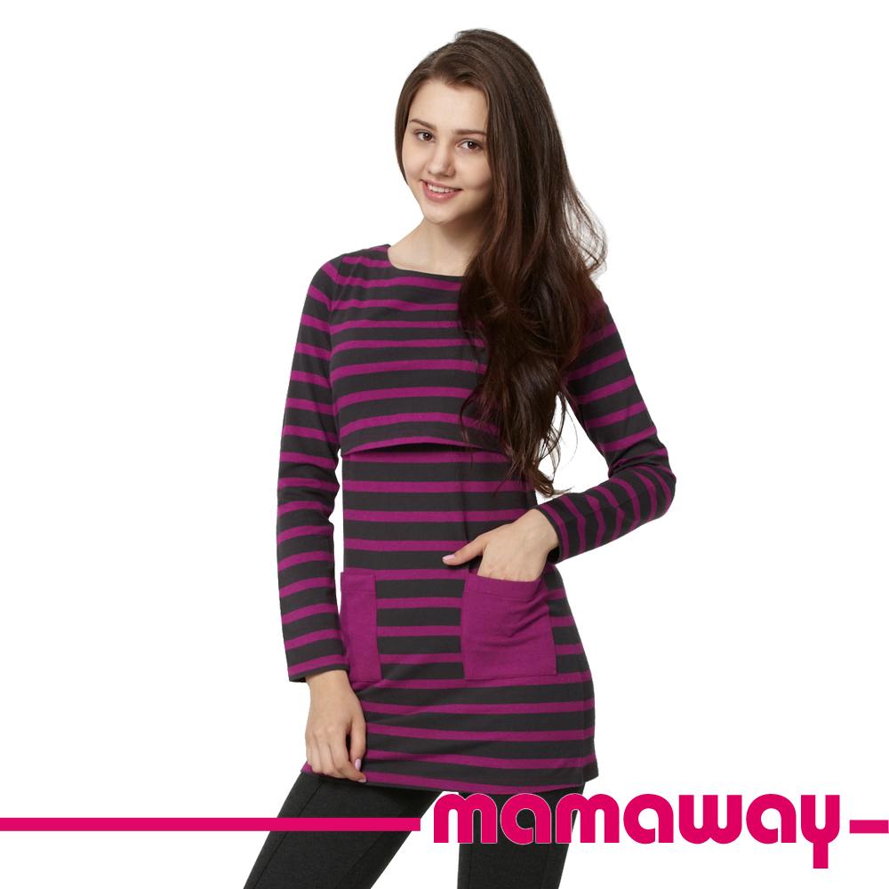 【Mamaway】科技羊毛船領橫紋哺乳衣(深灰/暗桃紅條)