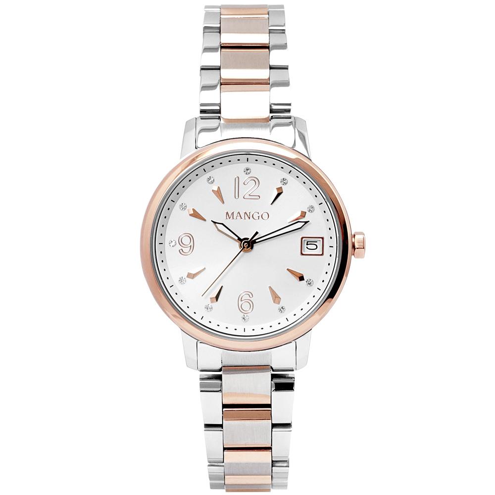 MANGO 優雅晶鑽時尚手錶-白X半金/29mm