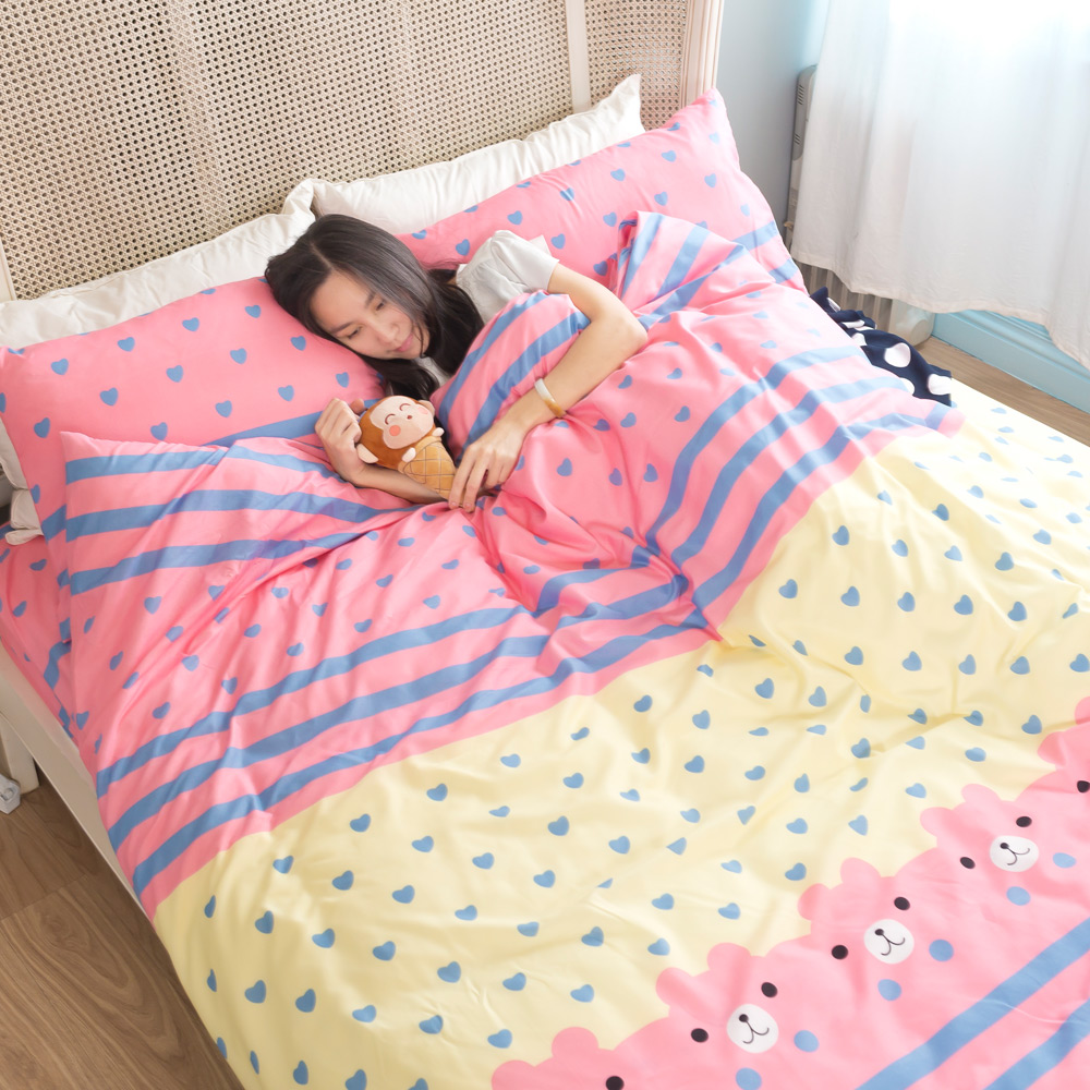 吸濕排汗系列SG 使用3M藥劑處理細緻柔絲綿 雙人床包涼被四件組 熊愛你