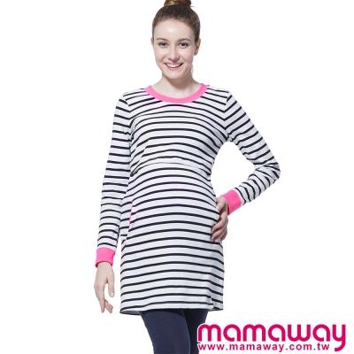 孕婦裝-哺乳衣-羅紋配色條紋長版孕哺上衣-共二色