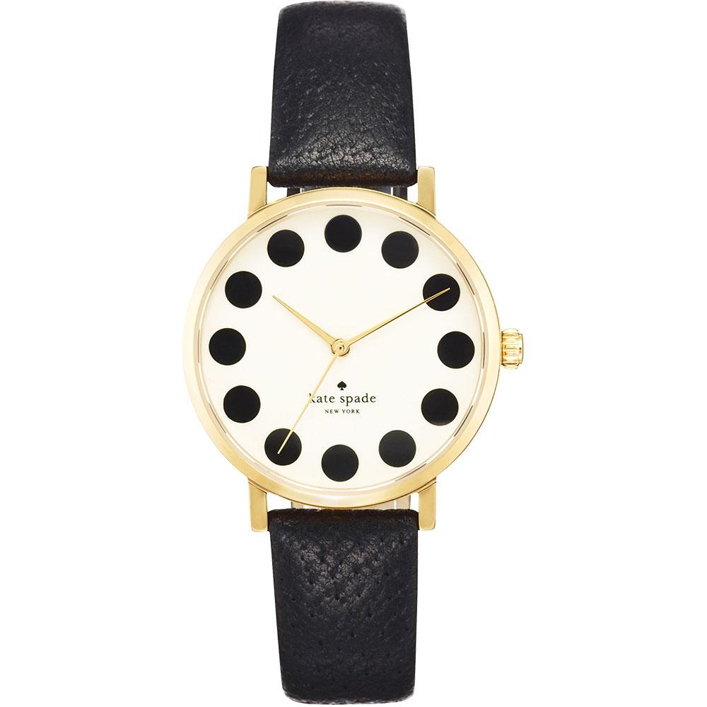 Kate Spade Merto 時尚點點腕錶-米白x黑/34mm
