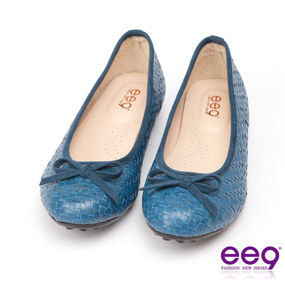 ee9 MIT經典手工~都會優雅網格編織蝴蝶結超輕豆豆娃娃鞋*藍色