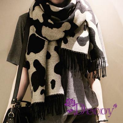 Decoy乳牛牧場 仿羊絨雙面雙色流蘇圍巾