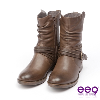 ee9 經典手工~都會簡約酷勁個性繫帶百搭素面粗跟中筒靴-墨綠