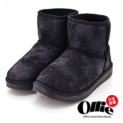 Aviator*韓國空運-Ollie正韓製時尚刷色爆裂皮革鋪毛增高短靴-黑